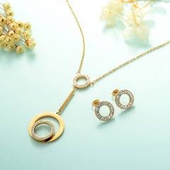 Conjunto de joyas de acero inoxidable 18k Gold Jewelry Wholesale XXXS-0230