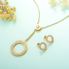 Conjunto de joyas de acero inoxidable 18k Gold Jewelry Wholesale XXXS-0234