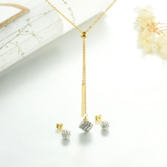 popular cubic zirconia brass charm stainless steel jewelry set XXXS-0321