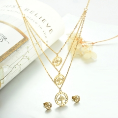 popular cubic zirconia brass charm stainless steel jewelry set XXXS-0327