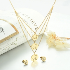 popular cubic zirconia brass charm stainless steel jewelry set XXXS-0330