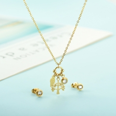 popular cubic zirconia brass charm stainless steel jewelry set XXXS-0345