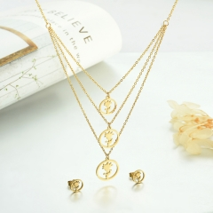 popular cubic zirconia brass charm stainless steel jewelry set XXXS-0332